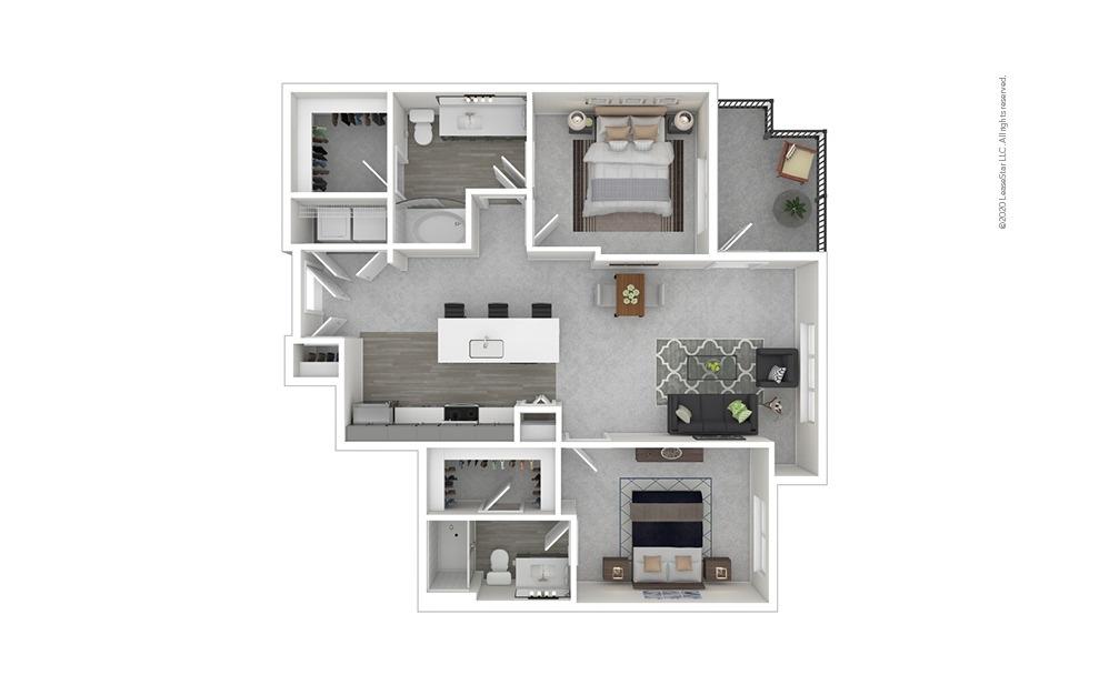 Lincoln 2 bedroom 2 bath 991 - 1047 square feet