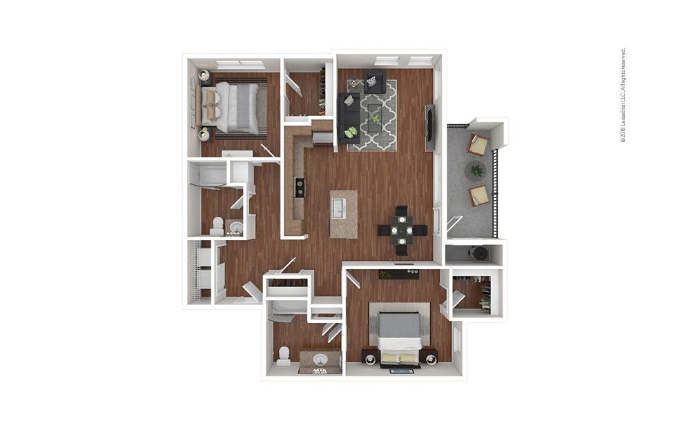 B3 2 bedroom 2 bath 1193 square feet