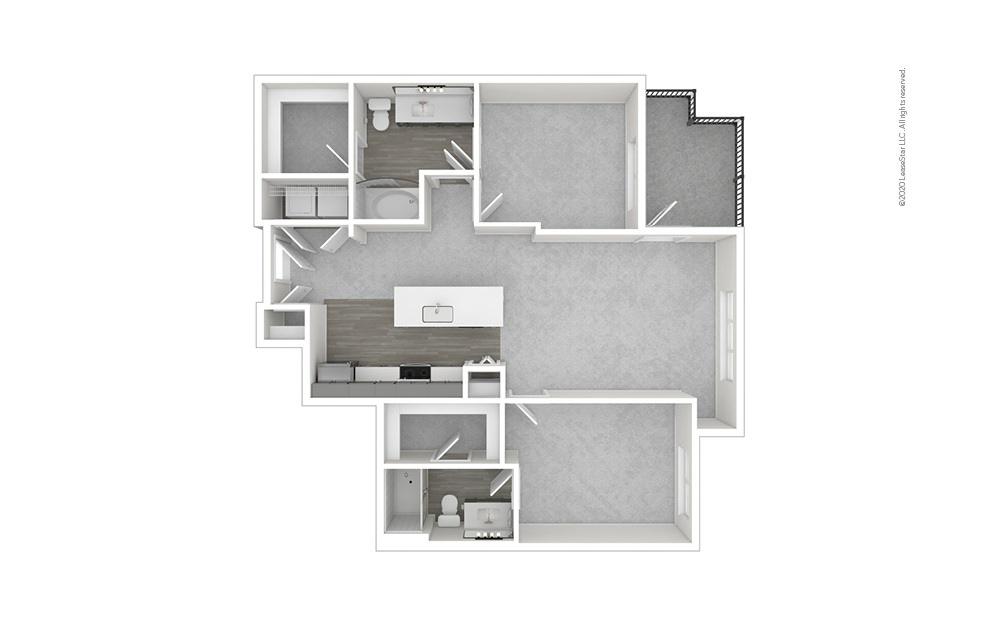 Lincoln 2 bedroom 2 bath 991 - 1047 square feet (1)