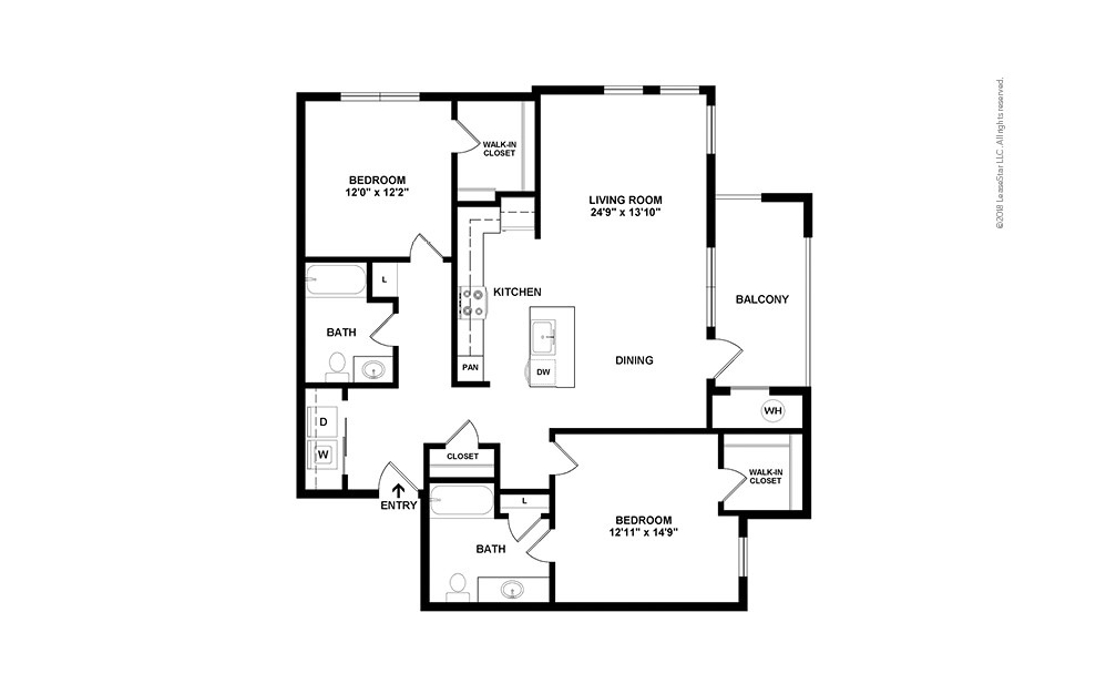B3 2 bedroom 2 bath 1193 square feet (2)