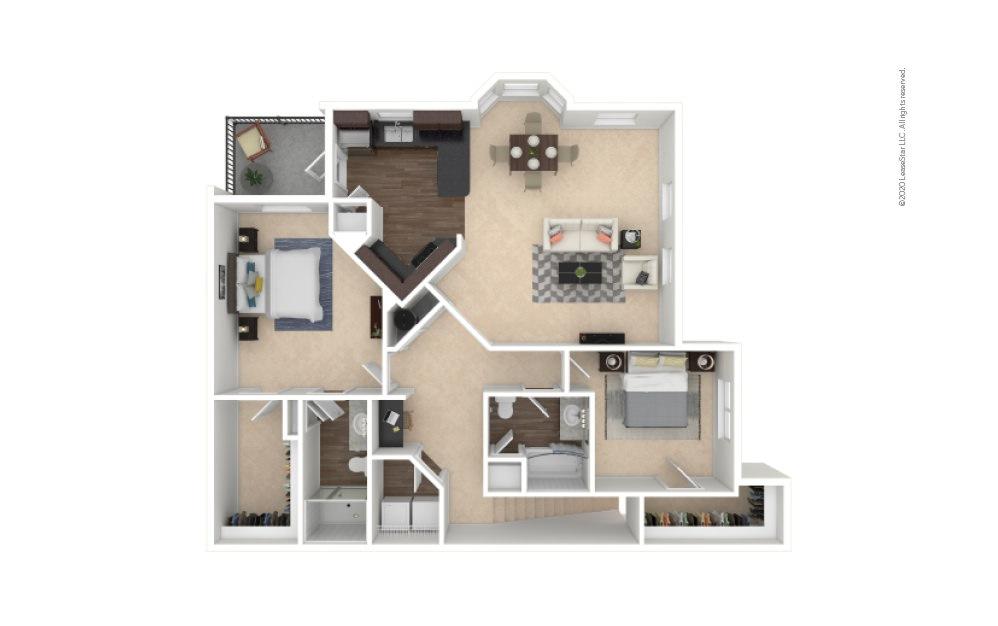 B3A 2 bedroom 2 bath 1436 square feet
