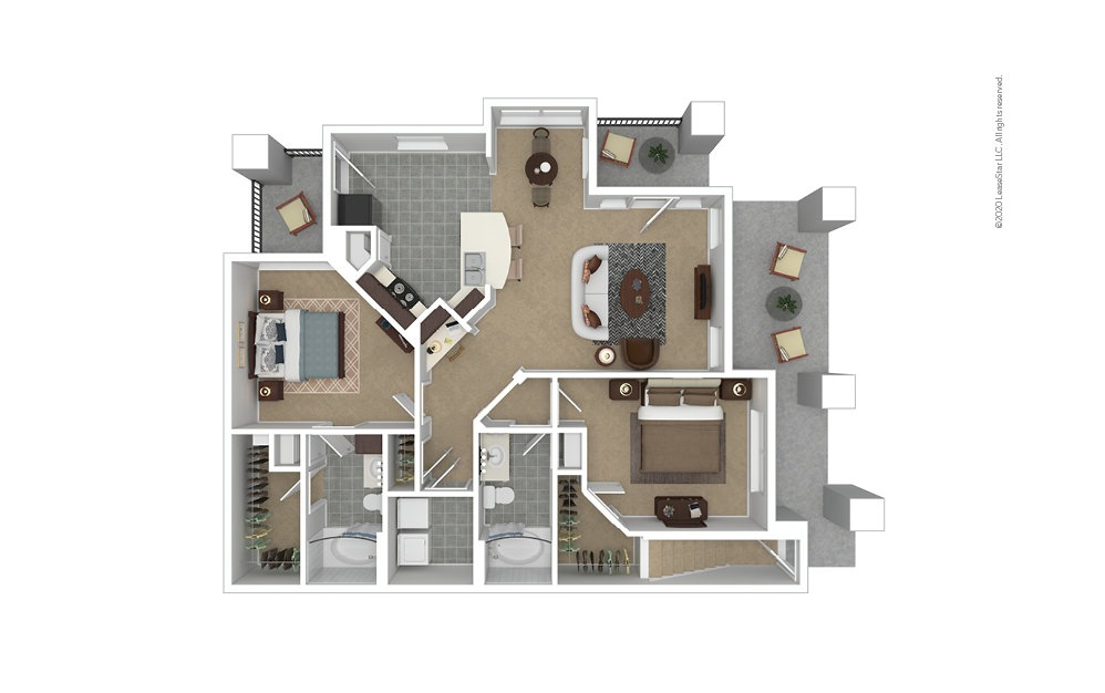 B4 Garage Option 2 bedroom 2 bath 1187 square feet