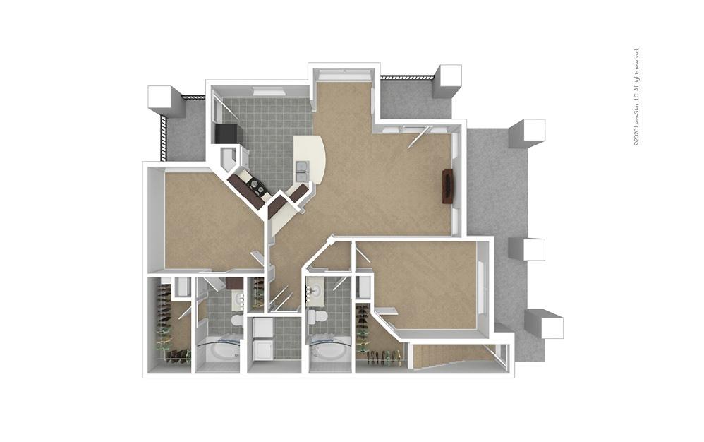 B4 Garage Option 2 bedroom 2 bath 1187 square feet (1)