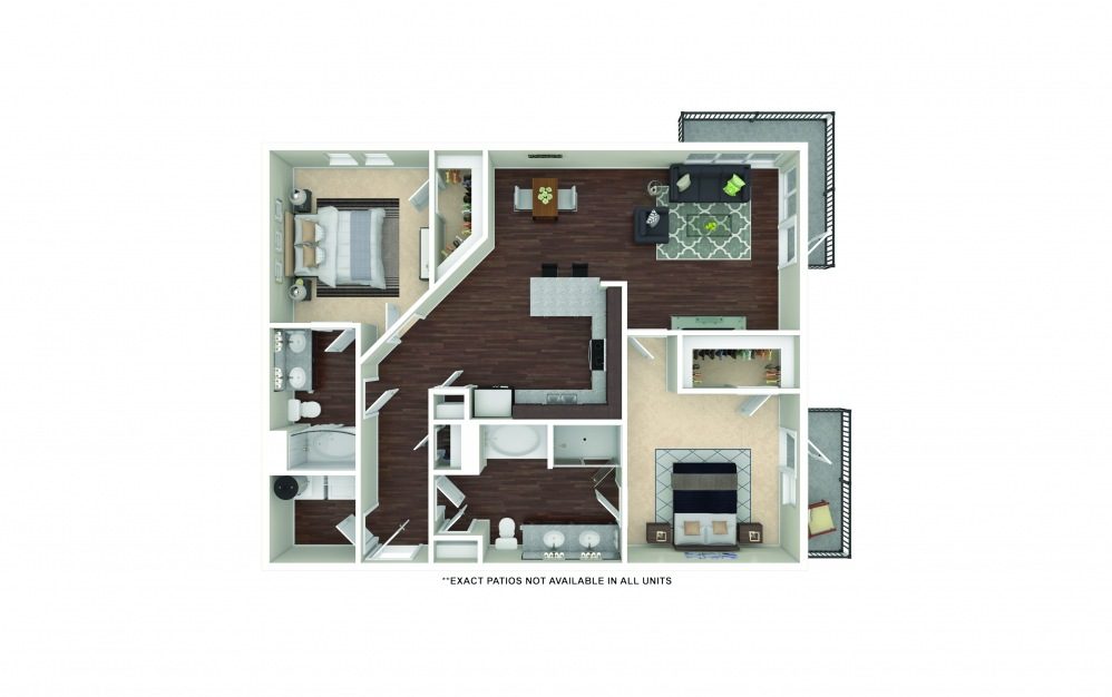 B6-B7 2 bedroom 2 bath 1260 - 1304 square feet