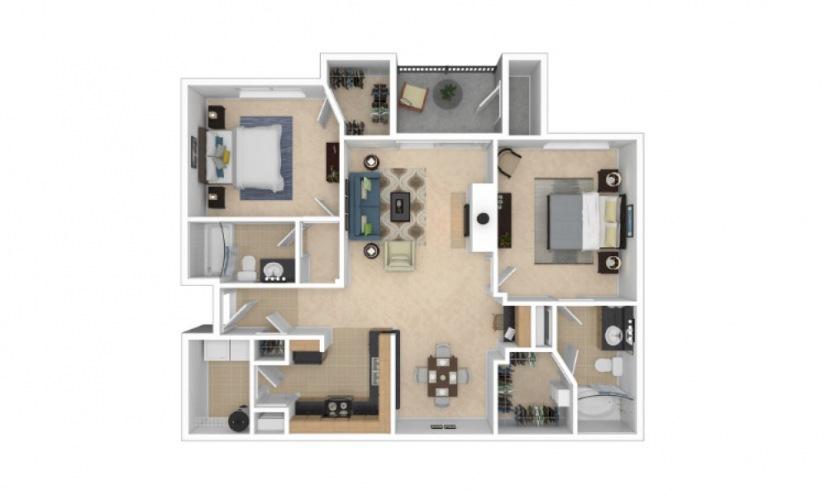 B8 2 Bed 2 Bath Floorplan
