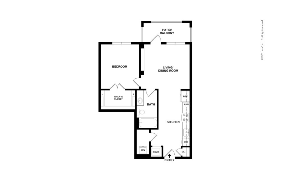 Bishop Studio 1 bath 671 square feet (2)