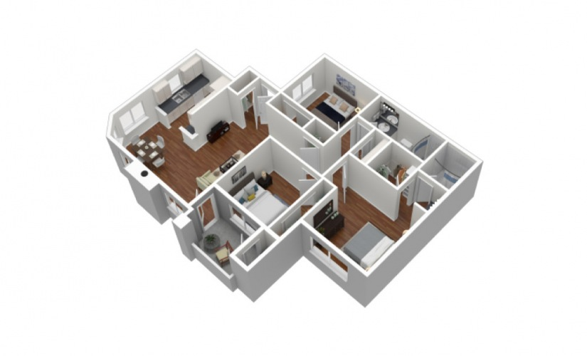 C 1 Bed 1 Bath Furnished Floorplan