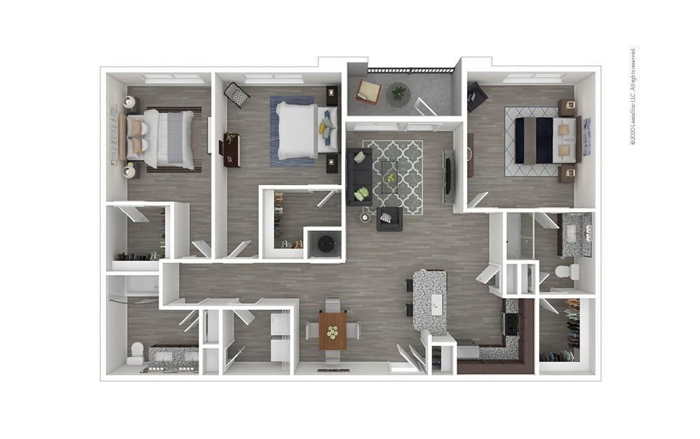 C1 3 bedroom 2 bath 1420 square feet