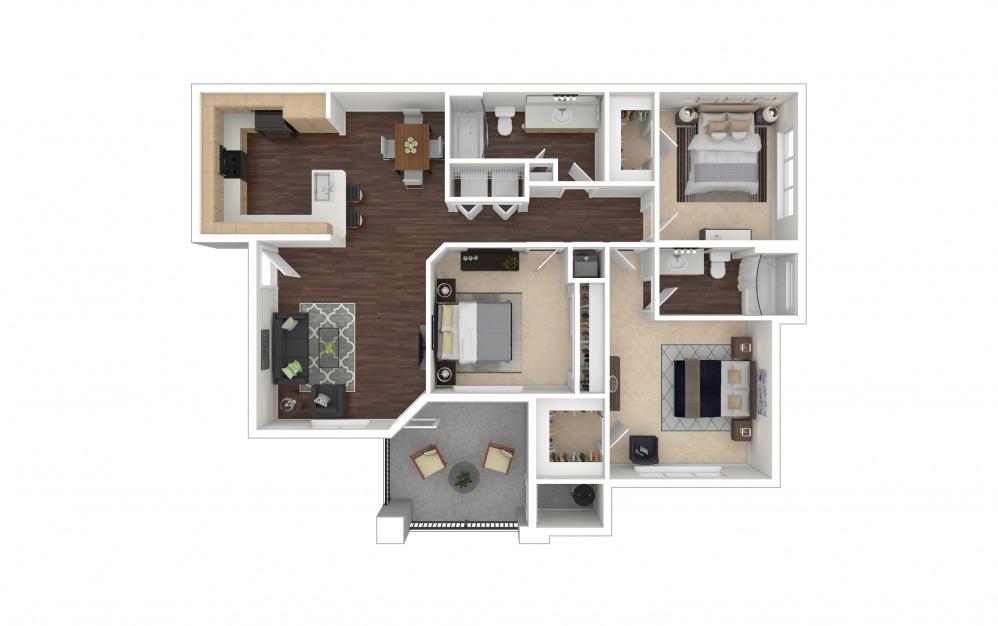 C1a 3 bedroom 2 bath 1421 square feet
