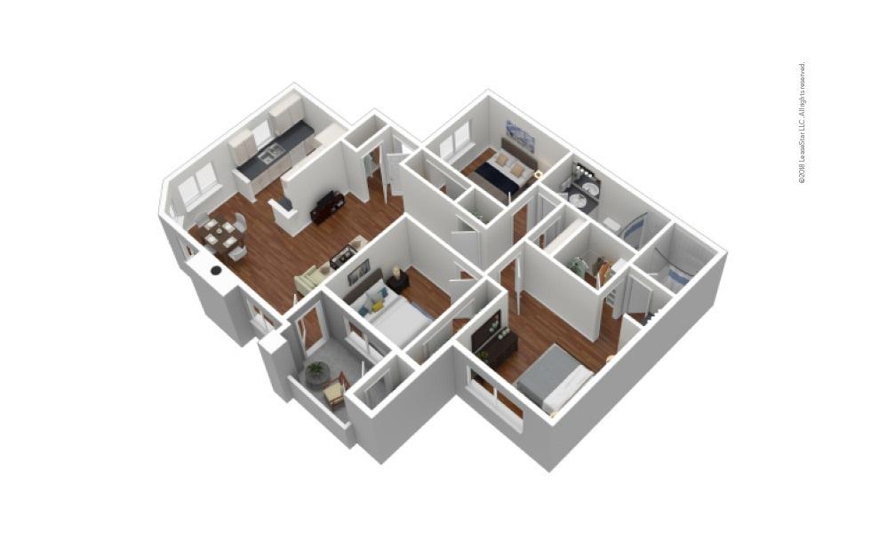 C 3 Bed 2 Bath Furnished Floorplan