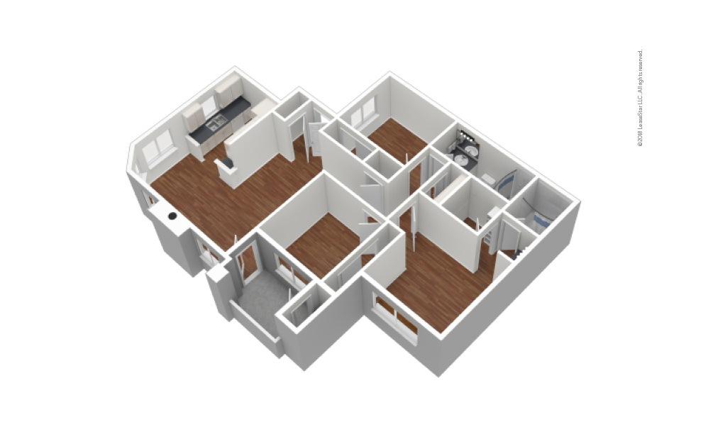 C1 3 Bed 2 Bath Unfurnished Floorplan