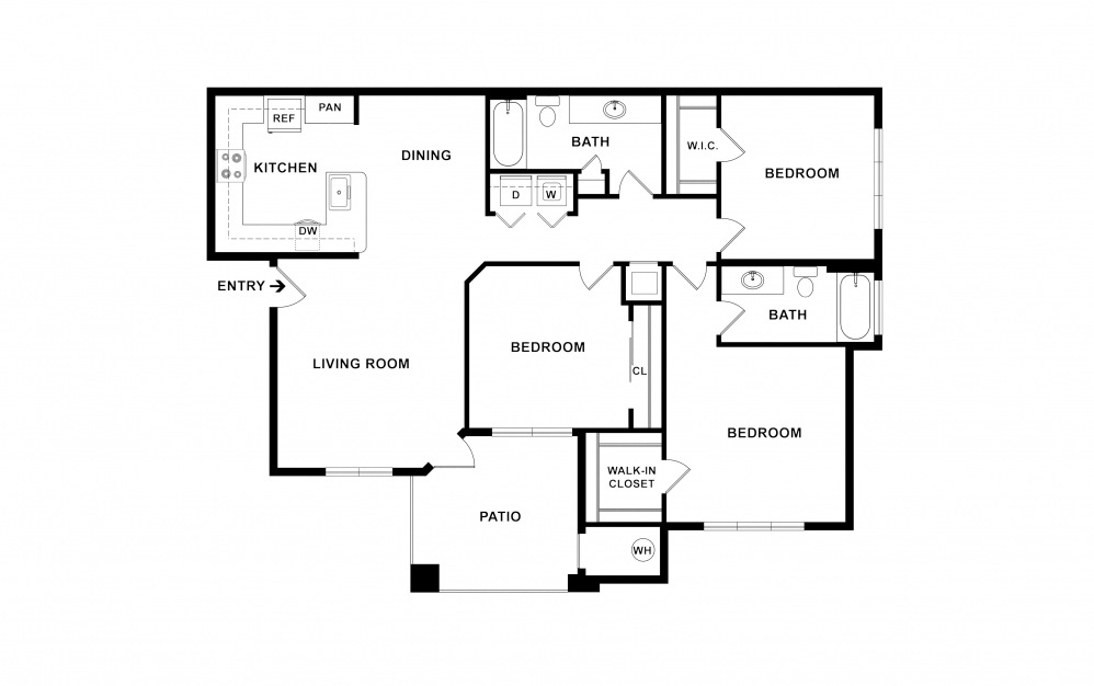 C1a 3 bedroom 2 bath 1421 square feet (2)
