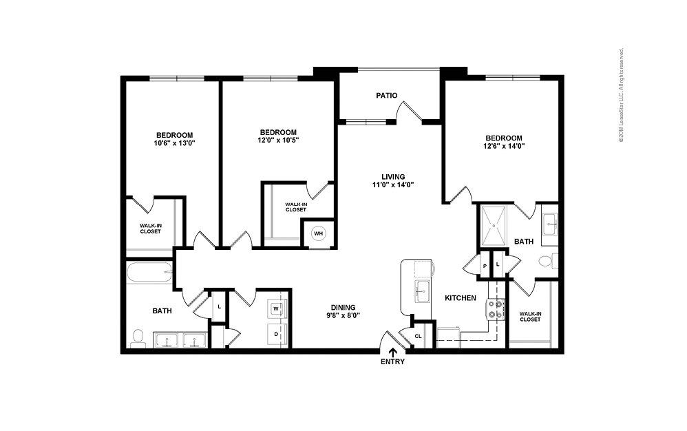 C1 3 bedroom 2 bath 1420 square feet (2)
