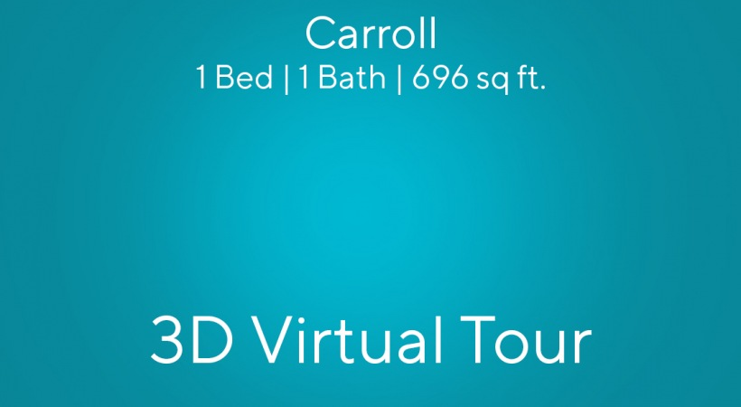"""This virtual apartment tour of our 1 bedroom apartment in Charlotte, NC shows you the """"Carroll"""" floor plan"""