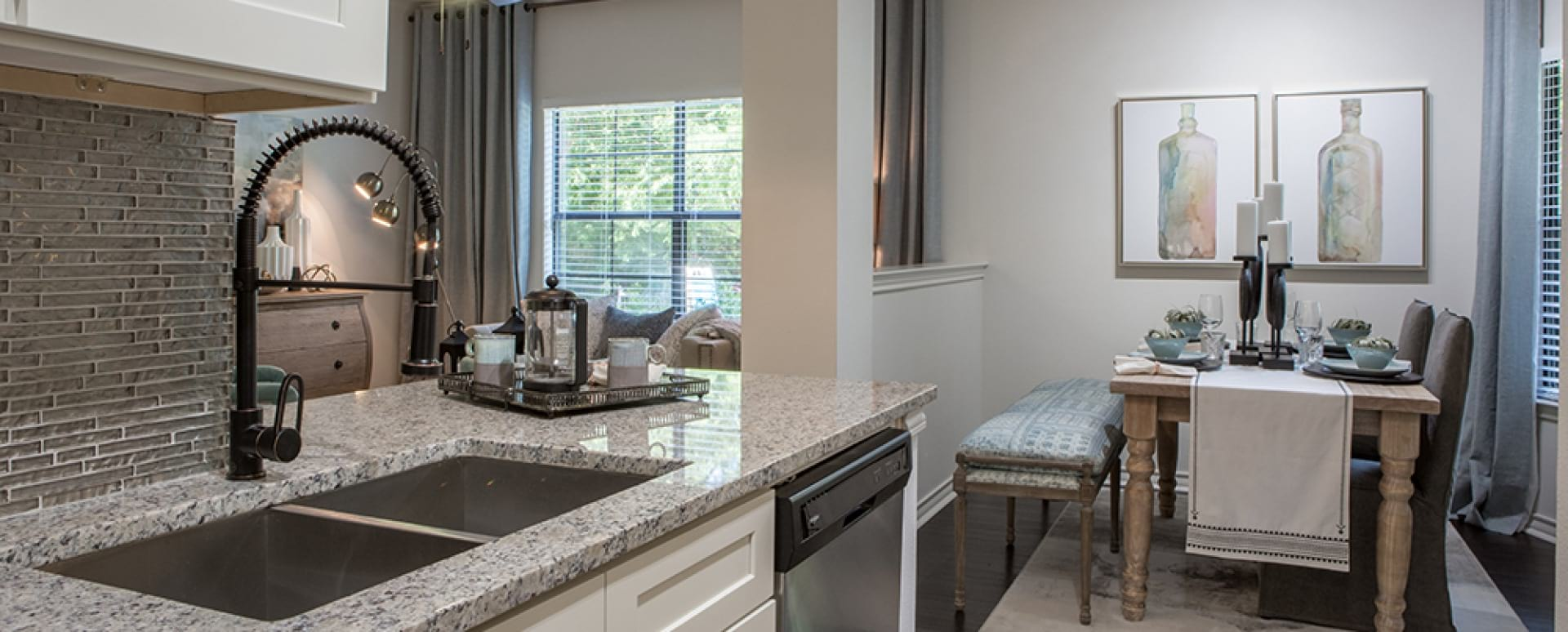Kitchen and dining area at apartments for rent in Fort Worth