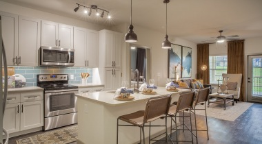 Expansive kitchen island at apartments in Fort Worth, TX