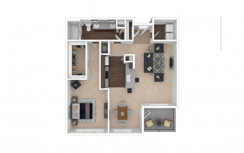 Durham I Midrise 1 bedroom 1 bath 890 square feet