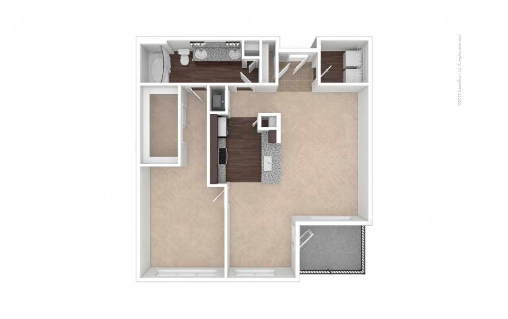 Durham I Midrise 1 bedroom 1 bath 890 square feet (1)