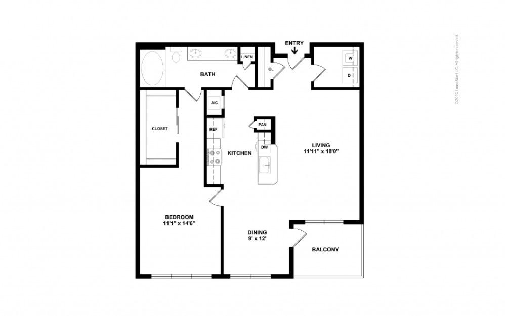 Durham I Midrise 1 bedroom 1 bath 890 square feet (2)