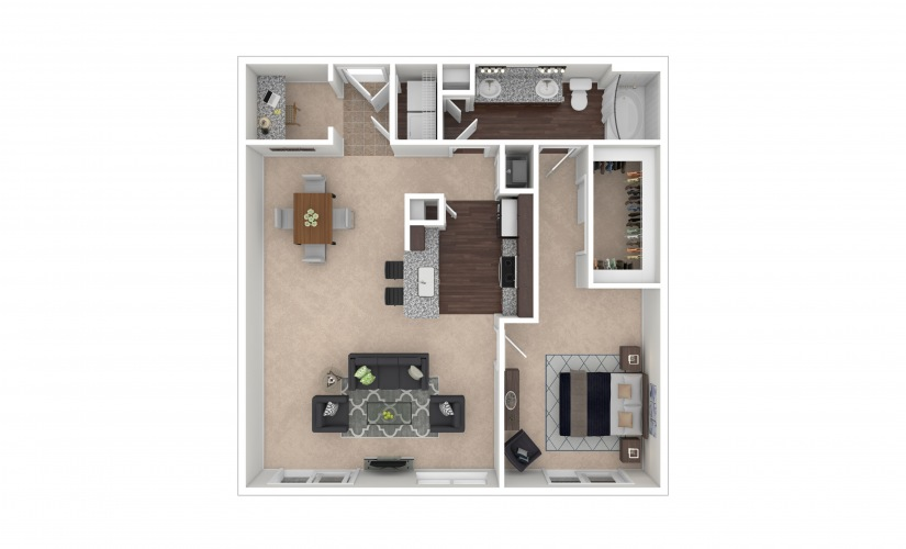 Durham II Midrise 1 bedroom 1 bath 961 square feet