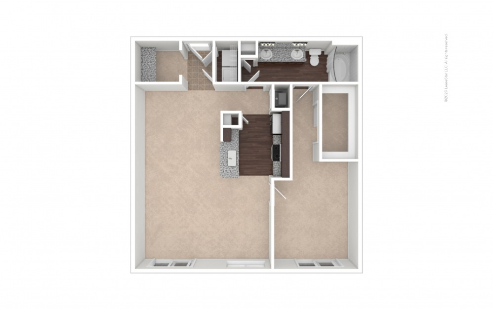 Durham II Midrise 1 bedroom 1 bath 961 square feet (1)