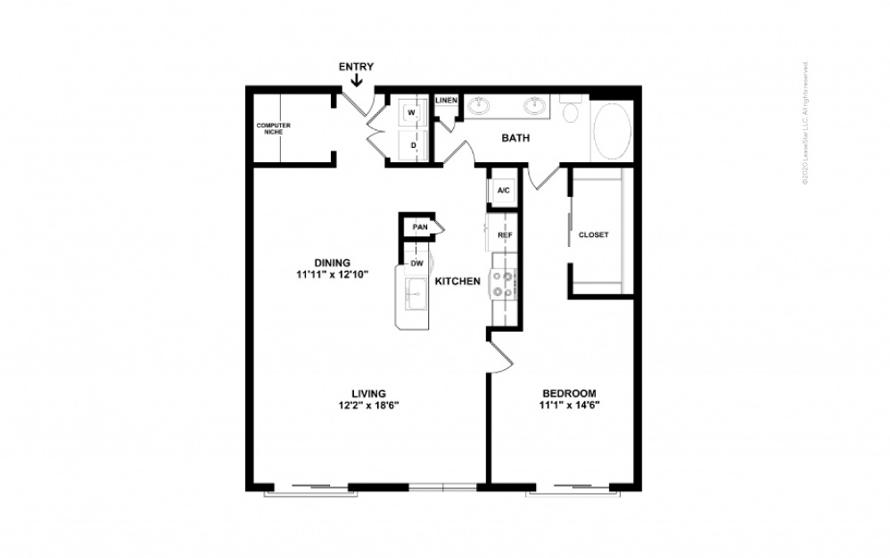 Durham II Midrise 1 bedroom 1 bath 961 square feet (2)