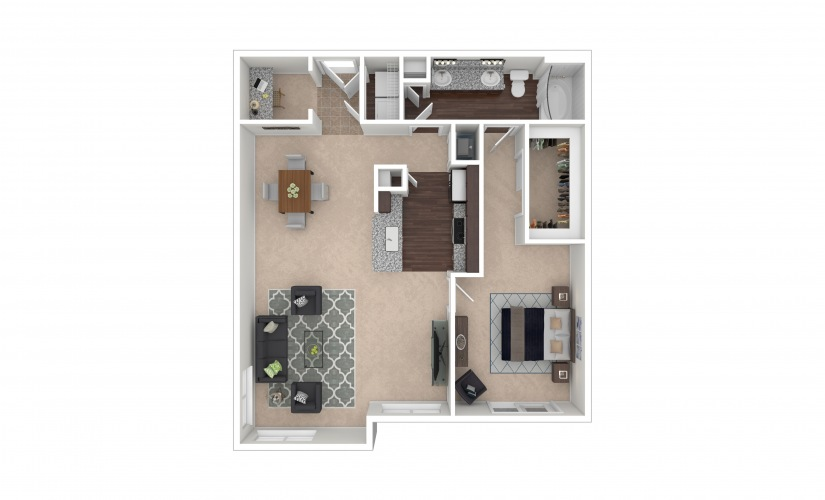 Durham III Midrise 1 bedroom 1 bath 991 square feet