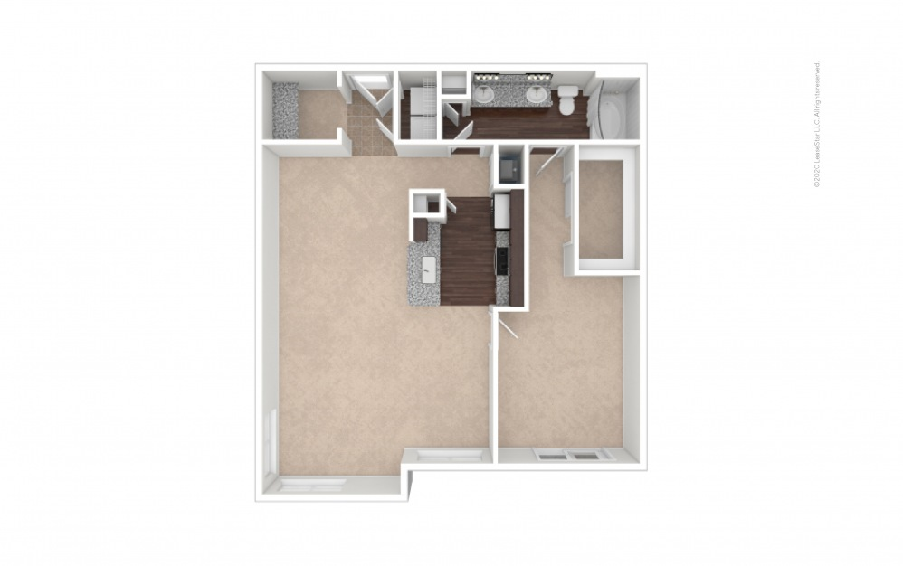 Durham III Midrise 1 bedroom 1 bath 991 square feet (1)