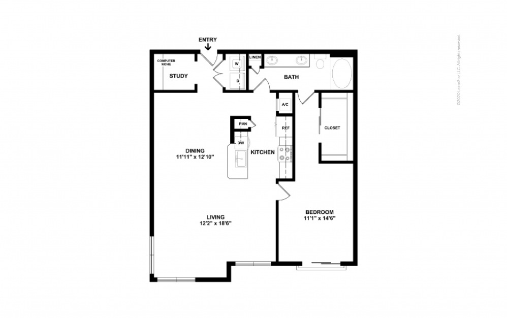 Durham III Midrise 1 bedroom 1 bath 991 square feet (2)
