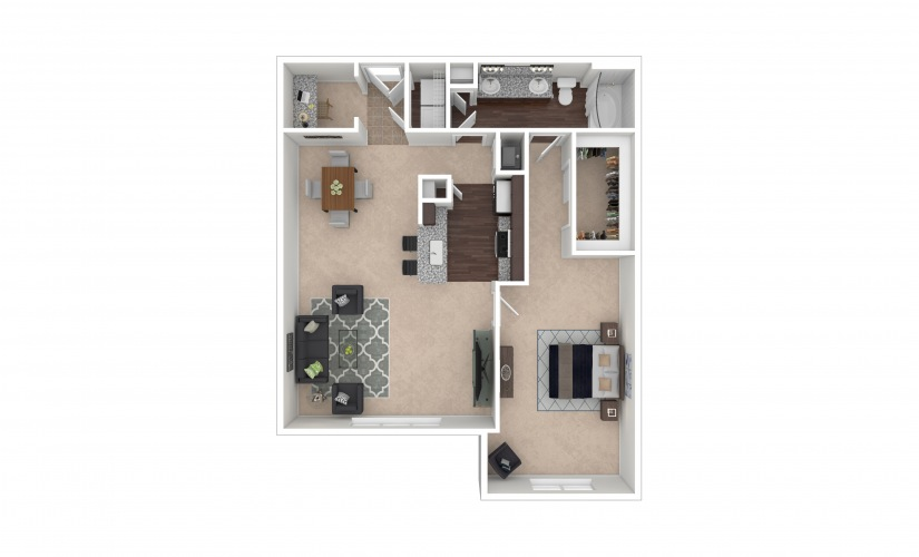 Durham IV Midrise 1 bedroom 1 bath 1025 square feet
