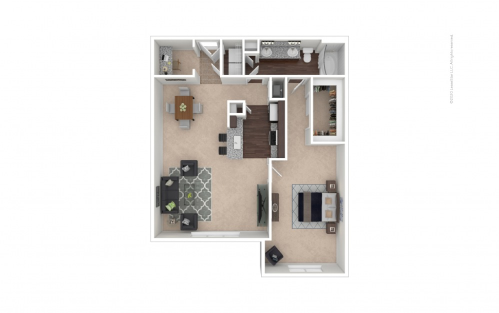 Durham IV Midrise 1 bedroom 1 bath 1025 square feet