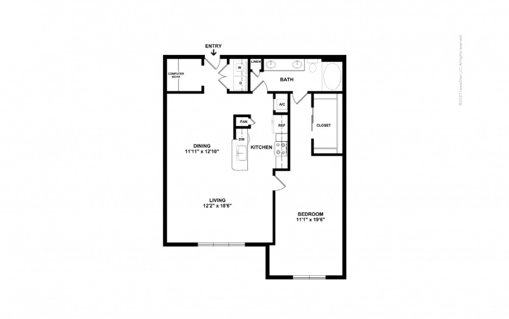 Durham IV Midrise 1 bedroom 1 bath 1025 square feet (2)