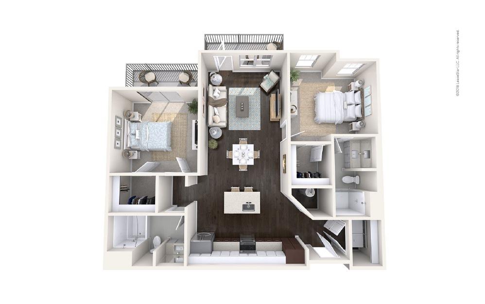 Outrigger 2 bedroom 2 bath 1124 square feet