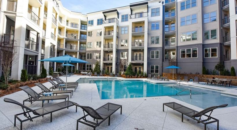 Resort-style pool at our apartments in Sandy Springs, GA