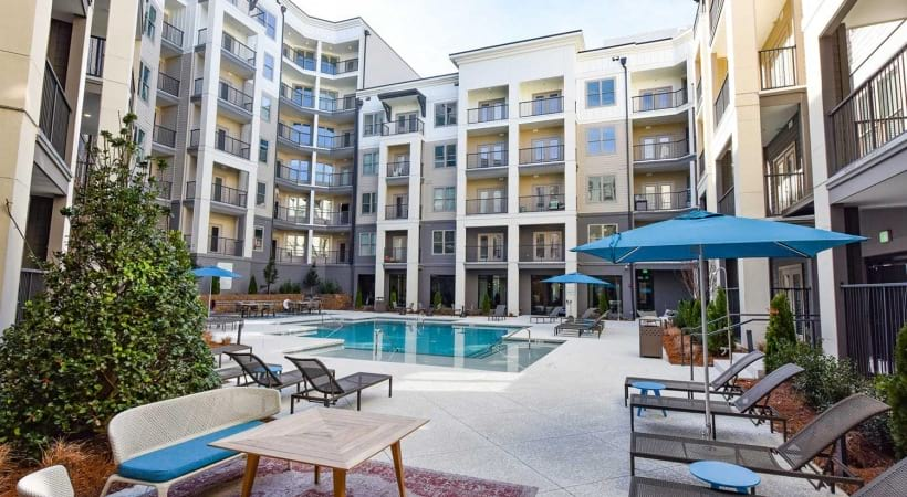 Apartment pool at Cortland at the Hill in Sandy Springs