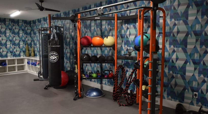 Fitness balls at the Cortland at the Hill apartment gym
