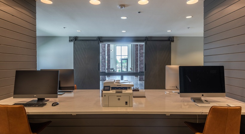 Work stations at our Phillips Creek Ranch apartment business center