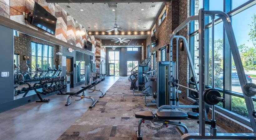 Fitness center at our Cortland Phillips Creek Ranch apartments in Frisco, TX