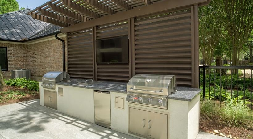 Outdoor gas grills at Town Center apartments