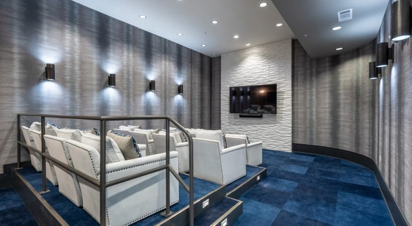 Movie theater at Cortland Phillips Creek Ranch apartments near Little Elm