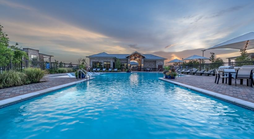 Resort-style pool at our upscale apartments for rent in Little Elm, TX