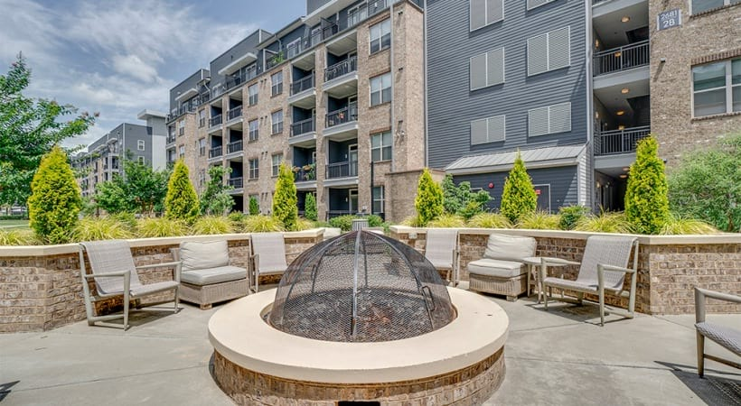 Outdoor fireplace and lounge area at our Raleigh luxury apartments
