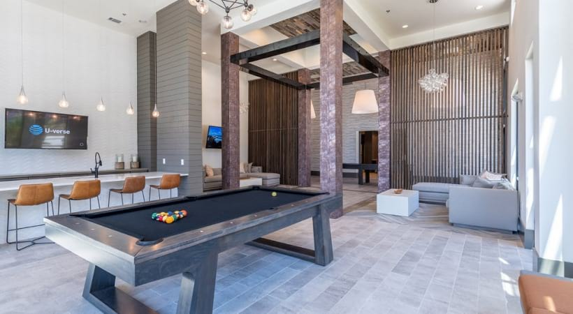 Pool table at our Phillips Creek Ranch apartment clubhouse