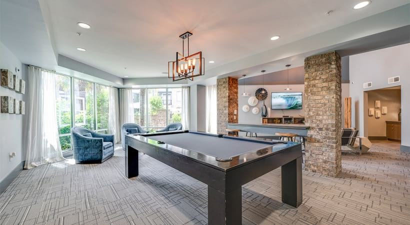 Pool table at our Raleigh, NC apartment clubhouse