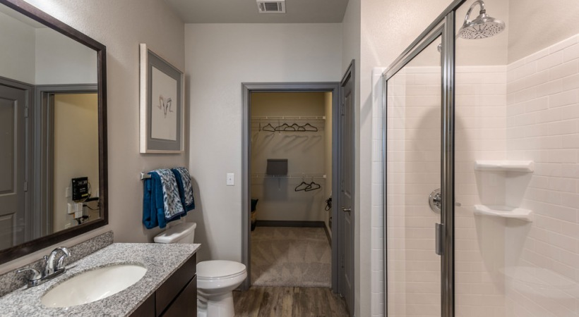 Luxury apartment bathroom with walk in shower