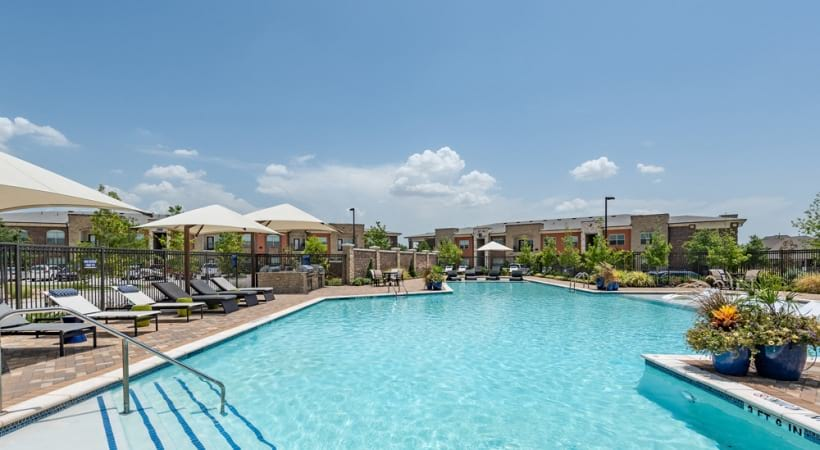 Resort style pool at our luxury apartments in Frisco, TX