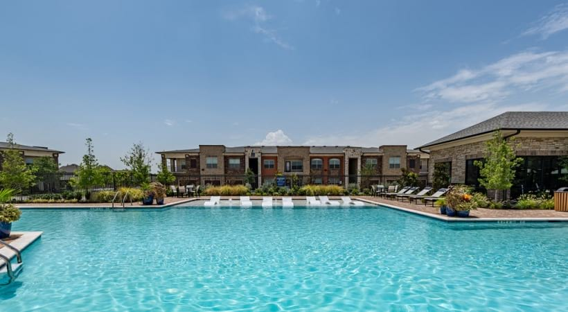 Resort-style pool at our luxury apartments near Frisco, TX