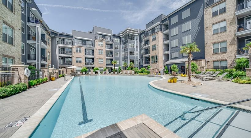 Our Raleigh, NC apartment pool with sun decks and cabanas