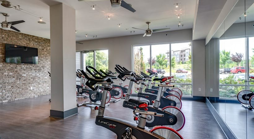 Spin studio at our modern apartments in Raleigh, NC