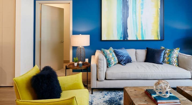 open concept living room adjacent to bedroom